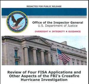Review of Four FISA Applications and Other Aspects of the FBI's Crossfire Hurricane Investigation