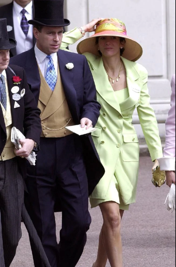 Prince Andrew and Ghislaine Maxwell at the Royal Ascot Races in 2000