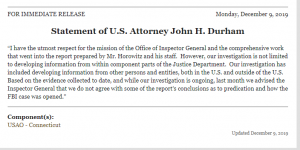 Statement of U.S. Attorney John H. Durham
