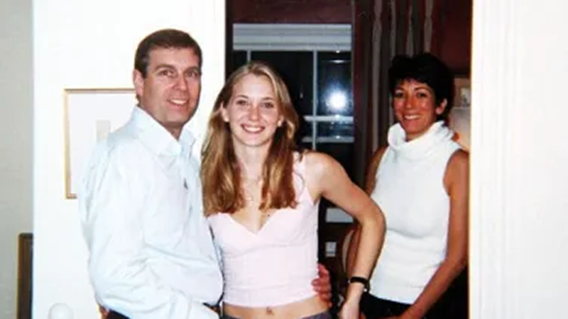 Prince Andrew and Virginia Giuffre, then known as Virginia Roberts, at Ghislaine Maxwell's (right) London apartment.