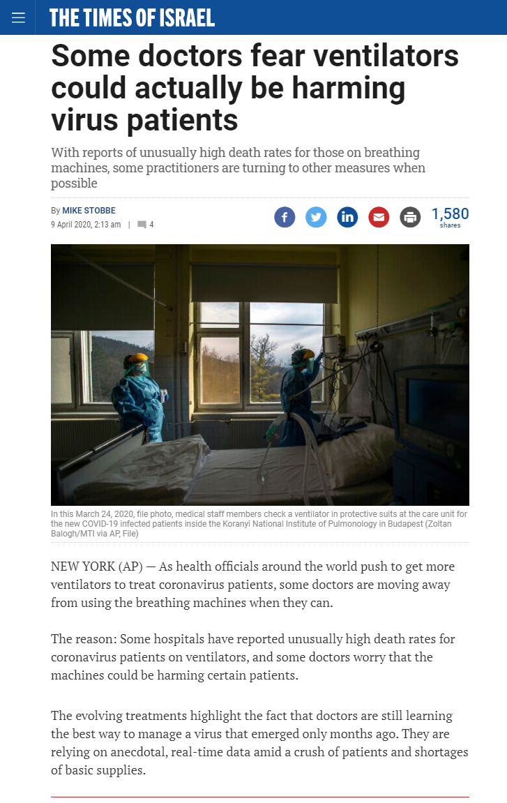 ARTICLE: Some doctors fear ventilators could actually be harming virus patients