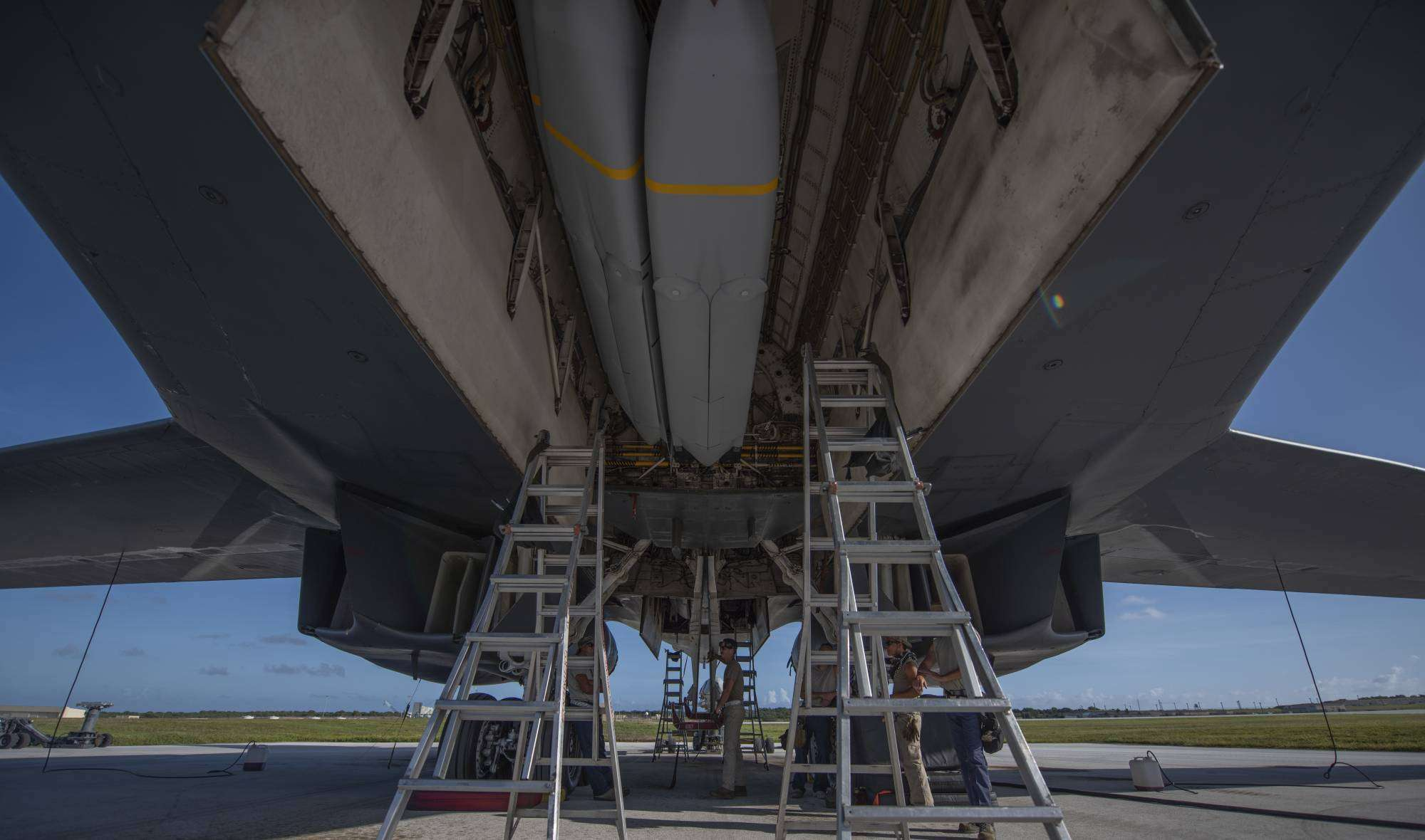 A B-1B bomber has one of its weapons bays loaded with stealthy Joint Air-to-Surface Standoff Missiles (JASSMs) at Andersen Air Base on the Pacific island of Guam on May 9.