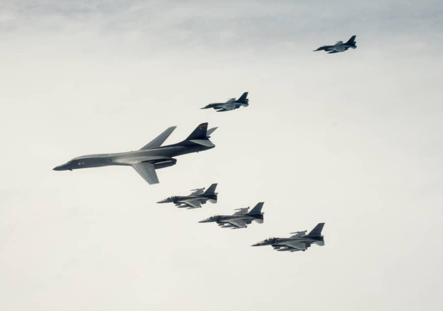 A U.S. Air Force B-1B bomber from Ellsworth Air Force Base, South Dakota, and F-16 fighters from Misawa Air Base conduct joint training with Air Self-Defense Force F-2s off the coast of Aomori Prefecture on April 22.