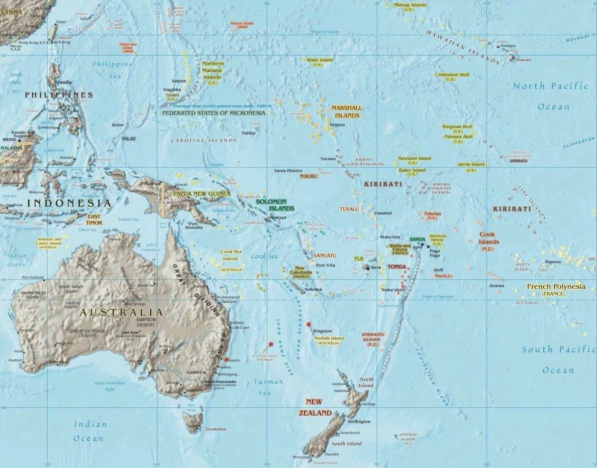 A map of the South Pacific