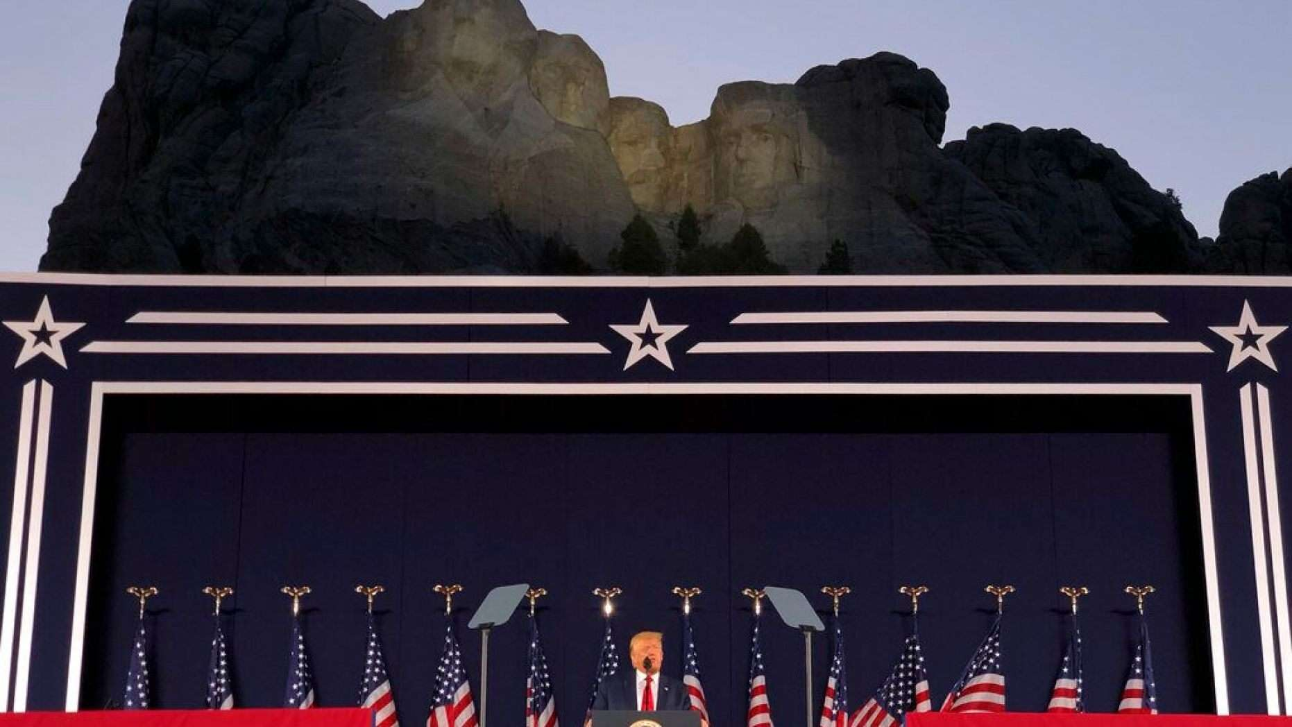 President Donald Trump speaks at Mount Rushmore National Monument Friday, July 3, 2020, in Keystone, S.D. (Associated Press)