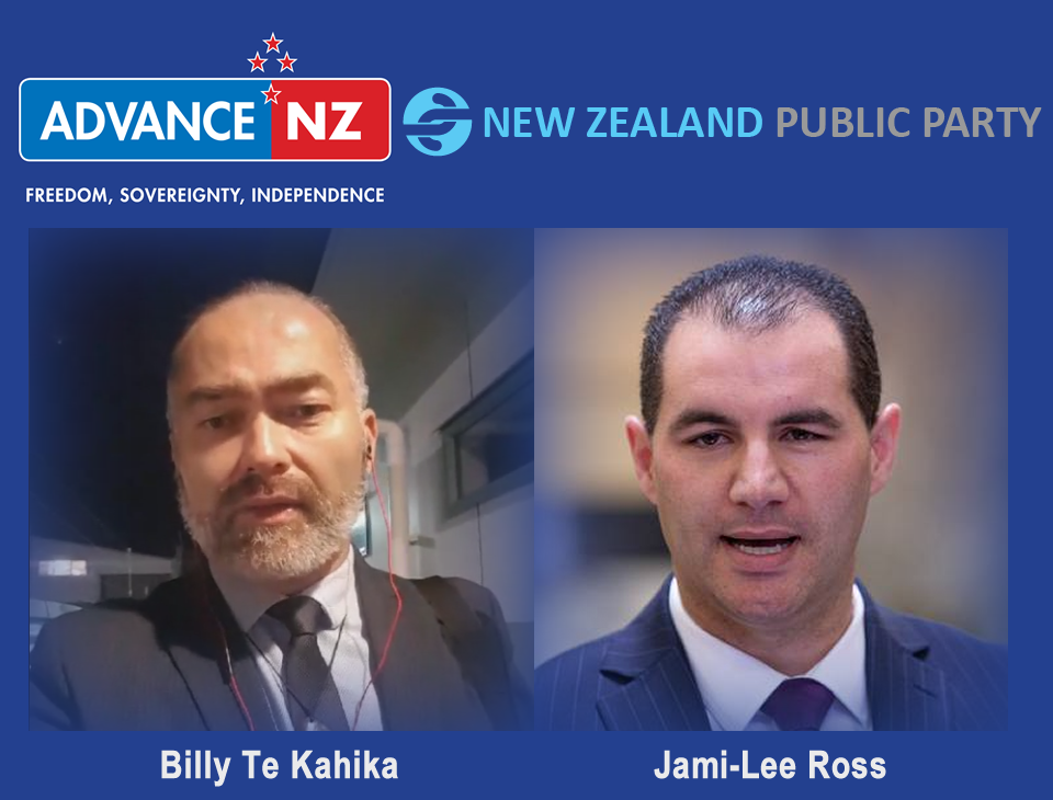NZPP Live From Logan Campbell Center Auckland Billy Te Kahika NZPP announced the details of their merger party; Advance NZ, the political party formed by independent Botany MP Jami-Lee Ross