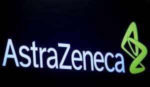 FILE PHOTO: The company logo for pharmaceutical company AstraZeneca is displayed on a screen on the floor at the New York Stock Exchange (NYSE) in New York, U.S., April 8, 2019. REUTERS/Brendan McDermid / File Photo