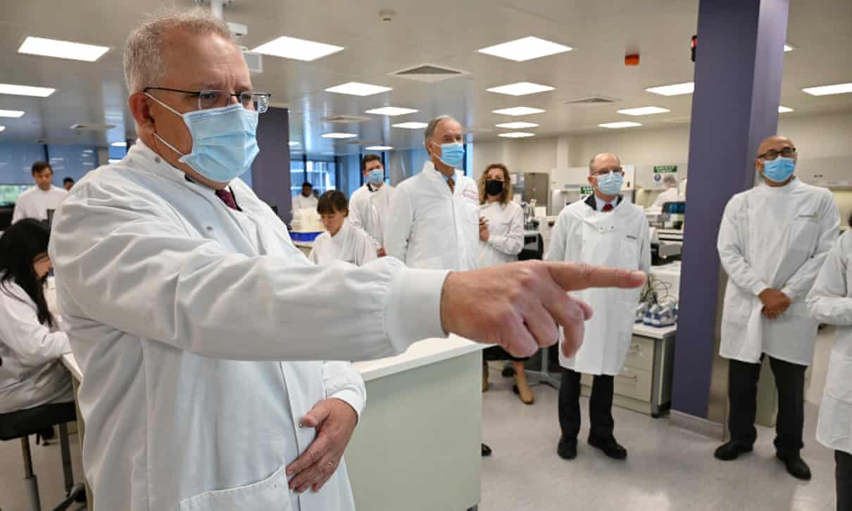 Scott Morrison tours the AstraZeneca laboratories in Sydney. Doctors say it is pre-emptive to discuss making a Covid-19 vaccine mandatory.