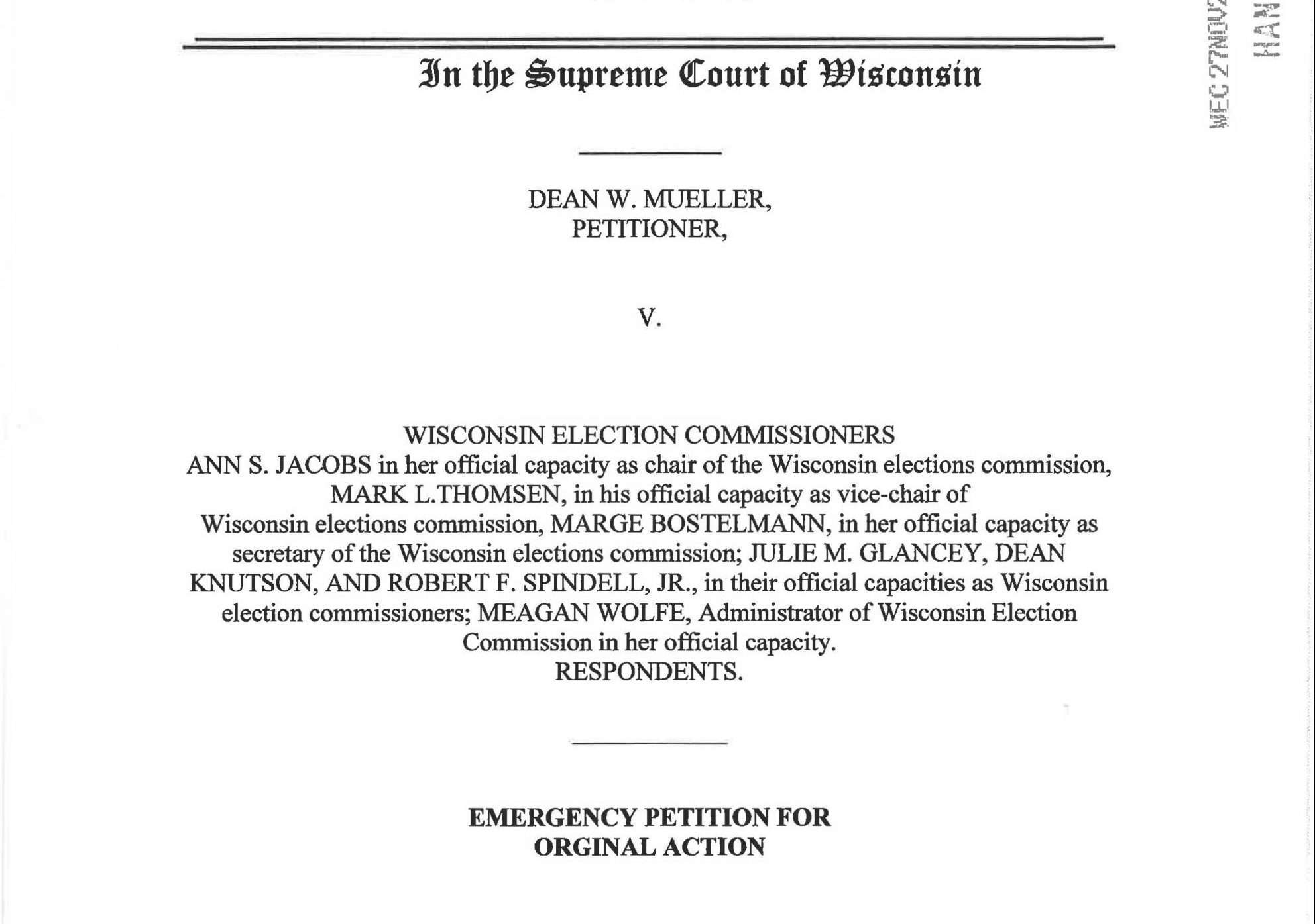 New Lawsuit Asks Wisconsin Supreme Court to Declare All Drop-Box Ballots Illegal and Block Certification