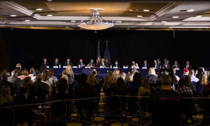 GETTYSBURG, PA - NOVEMBER 25: The Pennsylvania Senate Majority Policy Committee holds a public hearing Wednesday at the Wyndham Gettysburg hotel to discuss the 2020 election issues and irregularities with President Trump's lawyer Rudy Giuliani on November 25, 2020 in Gettysburg, Pennsylvania. Giuliani is continuing his push to overturn election results in the courts.