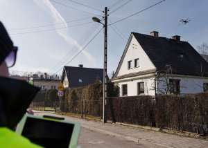 Police in Katowice, one of the most polluted cities in Europe, use drone technology to test smoke coming out of chimneys in 2018