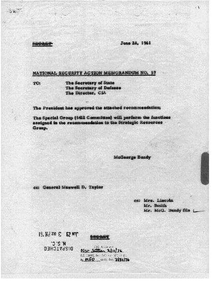 Image of Kennedy's memorandum, NSAM #57–which was his death warrant, perhaps.