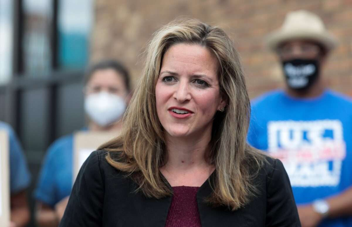 FILE PHOTO: Michigan Secretary of State Jocelyn Benson speaks in support of the United States Postal Service (USPS) outside of a post office in Detroit, Michigan, U.S. August 18, 2020.