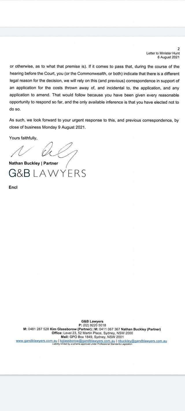 Click on Image to Expand: Letter G&B Lawyers to Greg Hunt 2021 Aug 06 Page 2/2